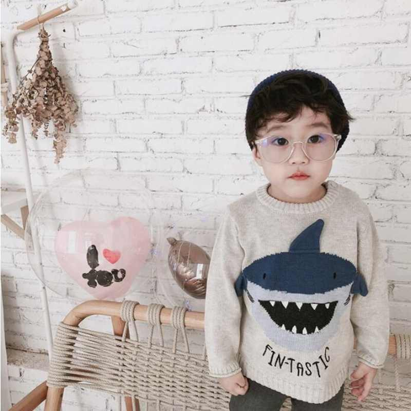 어린이 아기 가을 겨울 스웨터 kintted 아이 소년 소녀 패션 만화 상어 스웨터 파티 생일 아이 소년 키즈 탑스