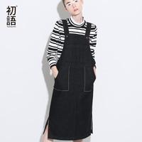 Toyouth 2017 New Arrival Women Spring Strap Dress Fashion Solid Jean Sleeveless Dress Female Slits Pocket