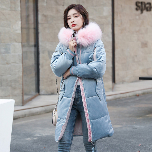 New Price Women Parkas coat Winter 2018 New Long jackets Velvet fabric down cotton padded jacket big fur collar loose styled jackets parka