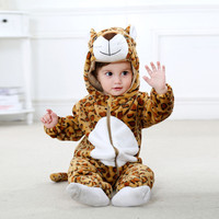 Gratis Verzending Cartoon Ontwerp Kids Casual Jumpsuit Lange Mouwen Baby Jongens Meisjes Dier Cartoon Hoodie Rompertjes Outfits Kleding # YL