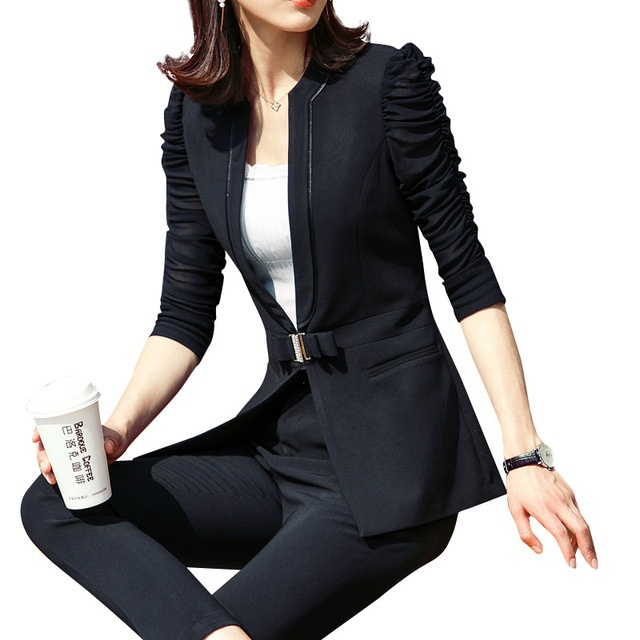 Fashion New women pants suits OL summer elegant Business slim half sleeve blazer with pants office Interview plus size Work wea