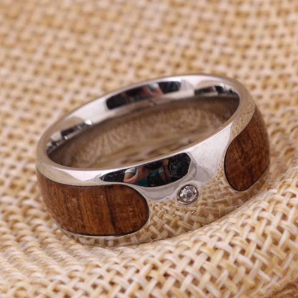 316l Stainless Steel Ring Men S Wedding Ring Retro Wood Grain