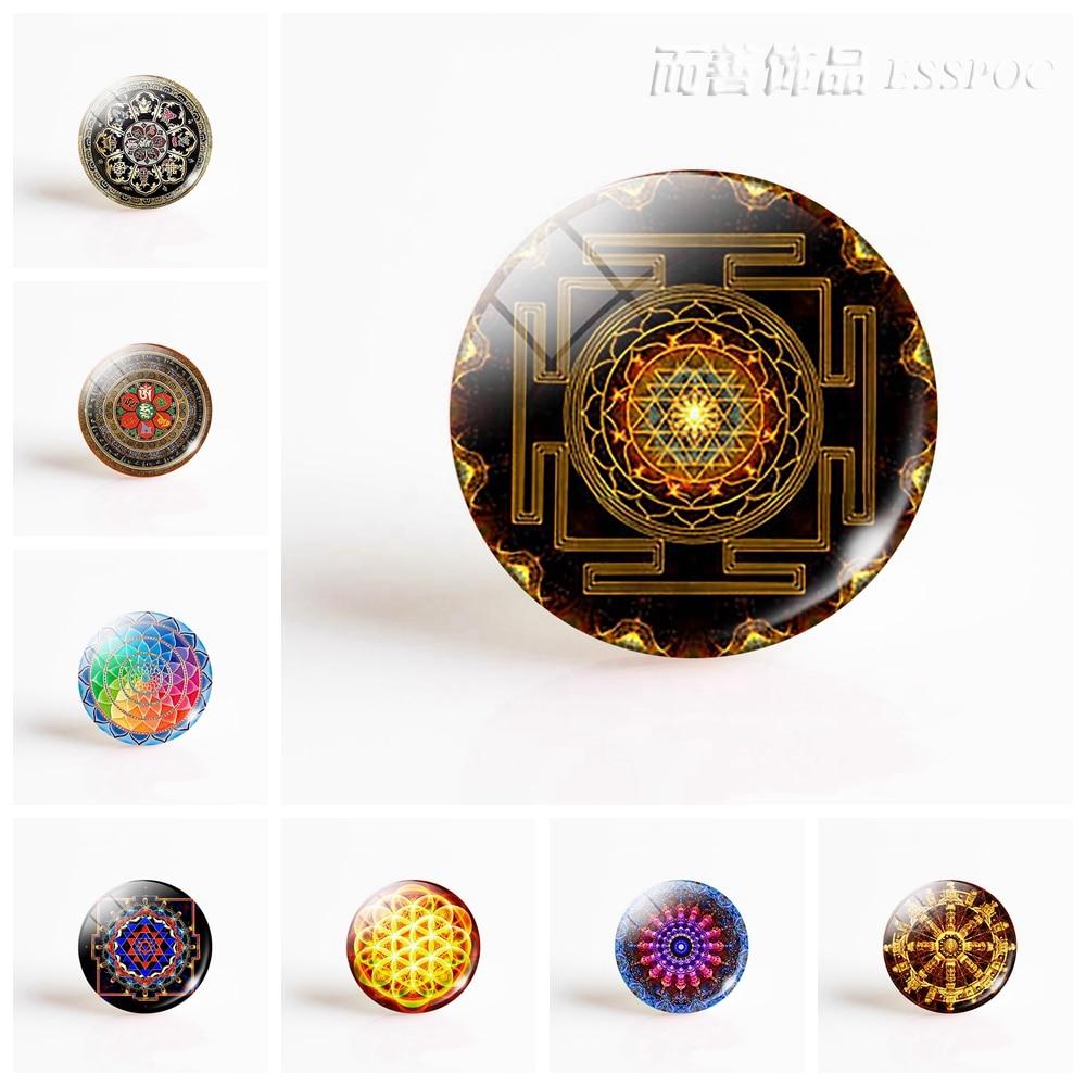 купить Mandala Photo Round 25MM Glass Cabochon Lotus Yoga Symbol DIY Pendant Jewelry Supply Craft Supplies по цене 34 рублей