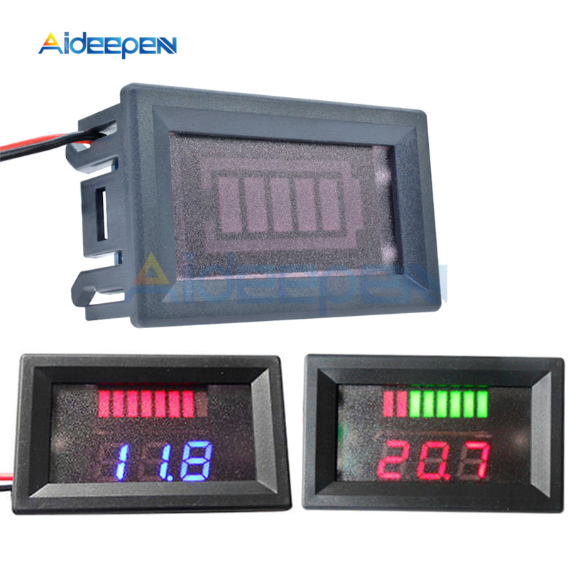 6V 12V 24V 36V 48VACID Lead Battery Charge Level Indicator Battery Tester Lithium Battery Capacity Meter LED Tester Voltmeter Du