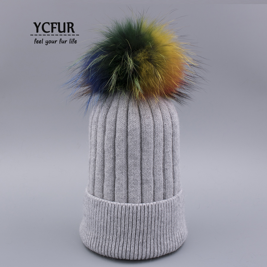 YCFUR Fashion Women's Cap Hat Winter Warm Knit Sheep Wool Beanies Hats Raccoon Dog Fur Pom Caps For Girls chapeu тиски зубр 175мм столярные быстрозажимные эксперт 32731 175
