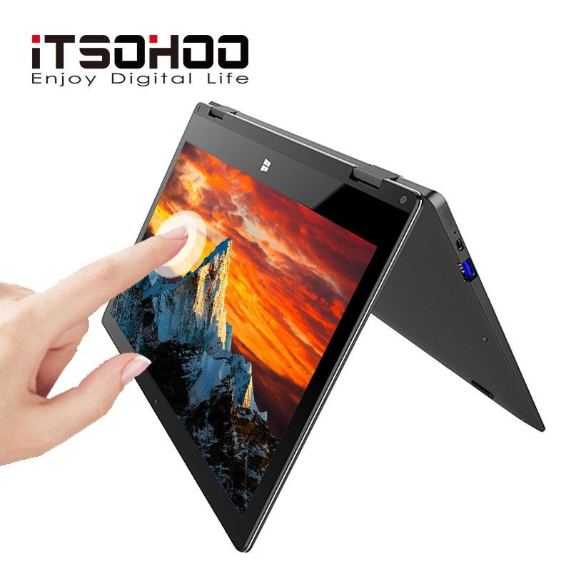 11.6 polegada conversível laptops tela sensível ao toque de 360 graus notebook iTSOHOO 8GB RAM laptop desbloqueio de impressão digital computador De Metal Dourado