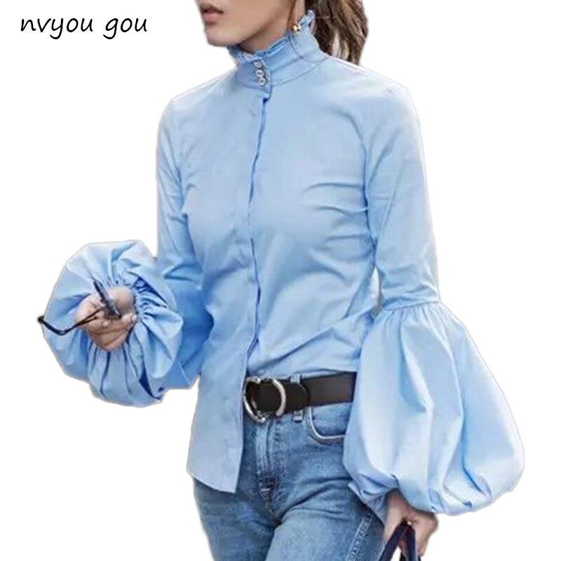 Longue et Large Lanterne Manches Bleu Blouse Femmes Bouton Vers Le Bas Blouses Chemises Femme 2018 Automne Hiver Mode Tops Col Roulé