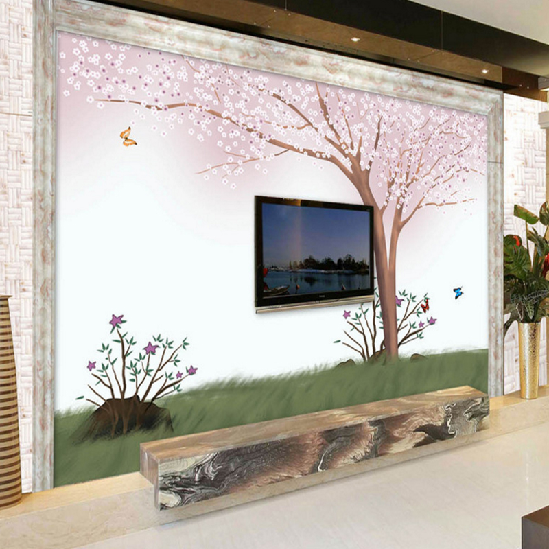 US $14.68 18% OFF|wallpapers photo modern home decor photo romantic living  room bedroom TV background wall mural pink cherry blossom lovers-in ...