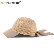 BUTTERMERE Raffia Straw Hats Women Beige Adjustable Baseball Cap Ladies Patchwork Bow Elegant Female Designer Crochet Sun Caps
