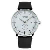 SKMEI 9083 Men Quartz Watch Fashion Casual Analog Watches Leather Strap Japan Movement Wristwatches