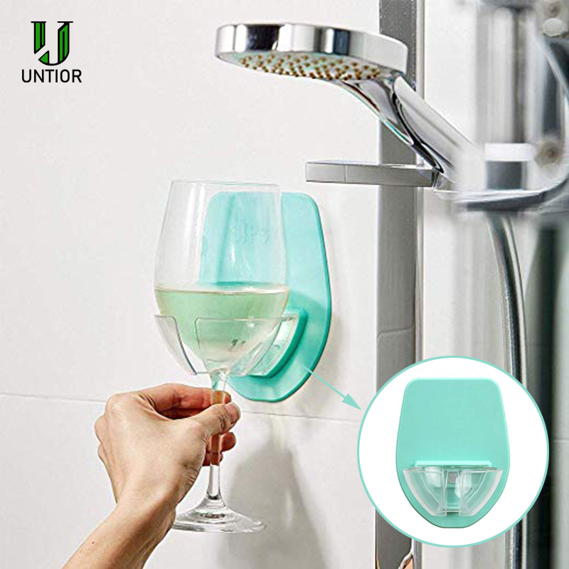 Watt Plastic Wine Glass Holder For The Bath Shower Red Wine Glass Holder Blue US