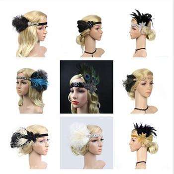 Hair Accessories Rhinestone Beaded Sequin Hair Band 1920s Vintage Gatsby Party Headpiece Women Feather Headband GPD8411 headpiece