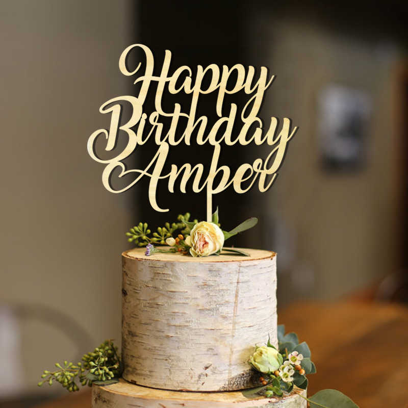Magnificent Personalised Happy Birthday Cake Toppers Gold Glitter Birthday Personalised Birthday Cards Veneteletsinfo