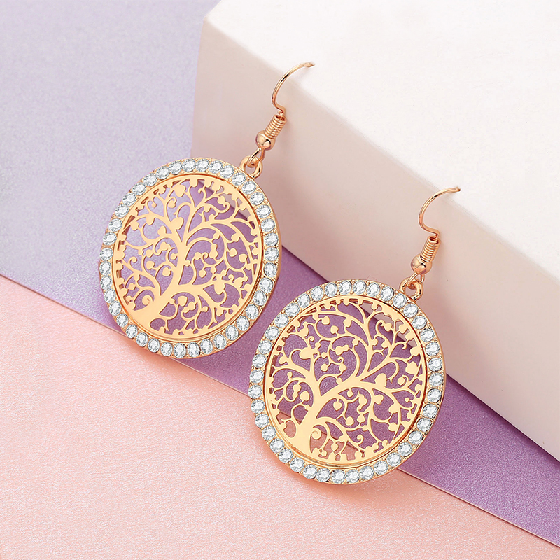 Tree Of Life Drop <font><b>Earrings</b></font> For Women <font><b>2019</b></font> Fashion Jewelry Round With Cubic Zirconia Gold <font><b>Statement</b></font> <font><b>Earrings</b></font> pendientes <font><b>za</b></font> oorbel image