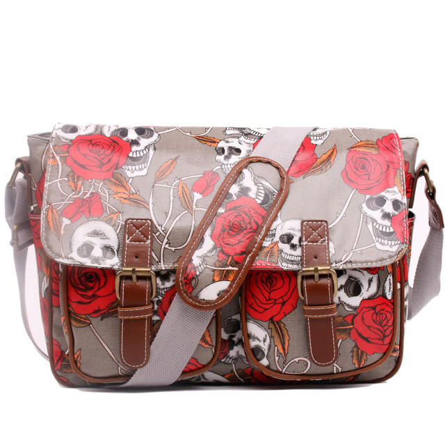 Miss Lulu Skull Rose Flower Waterproof School Travel Work Messenger Satchel Crossbody Bag Women A4 Large Book iPad Oilcloth