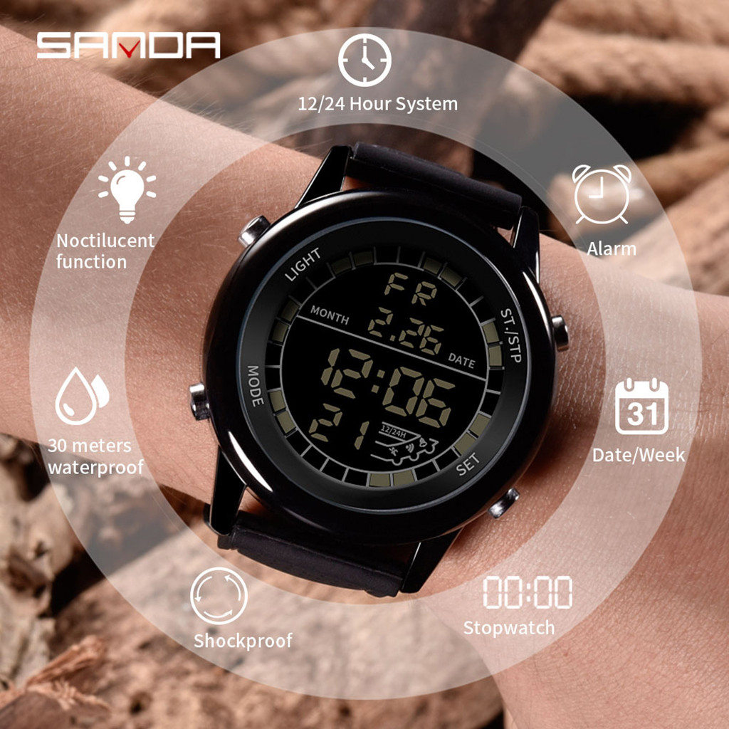 watch relogio watch Men Electronic sport Wrist Watches Waterproof Dual Display Analog Digital Watch LED reloj montre homme *A
