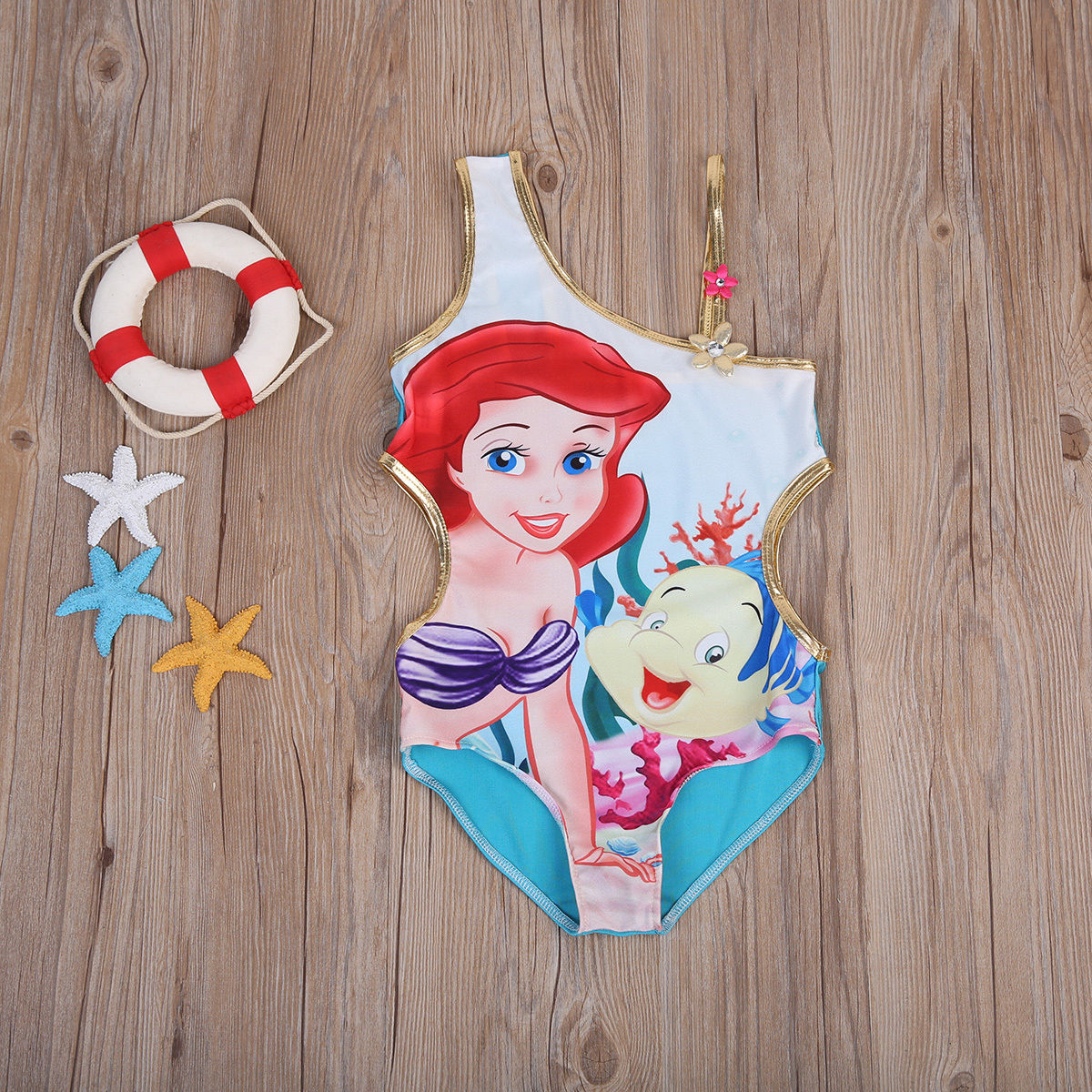 Floral Swimsuit Beachwear Mermaid One-Shoulder One-Piece Clothing Girl Cartoon Kids Little