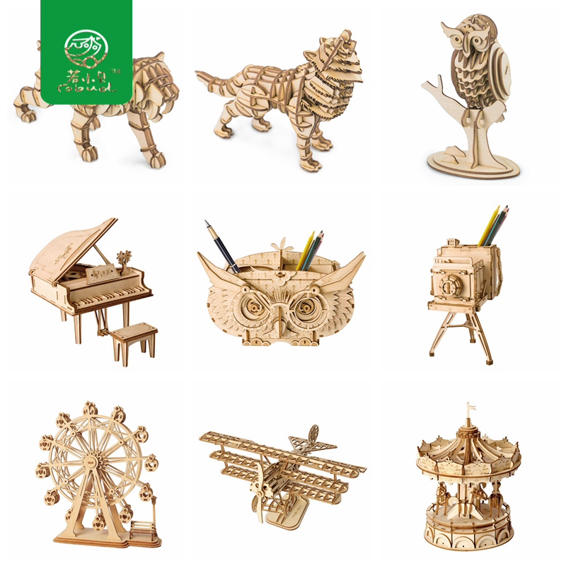 Robud DIY 3D Wooden Animal&Building Puzzle Children Kid Natural Wood Toy Model Building Kits Educational Hobbies Gift TG207