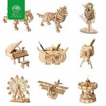 Robud DIY 3D деревянные животные и строительные головоломки для детей из натурального дерева игрушка модель строительные наборы Развивающие хобби подарок TG207