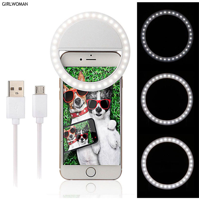 Girlwoman Led Lamp Phone Camera Flash Mobile Phone Light Selfie Led Ring Lamp Phone Charging for Smartphone Usb Charge