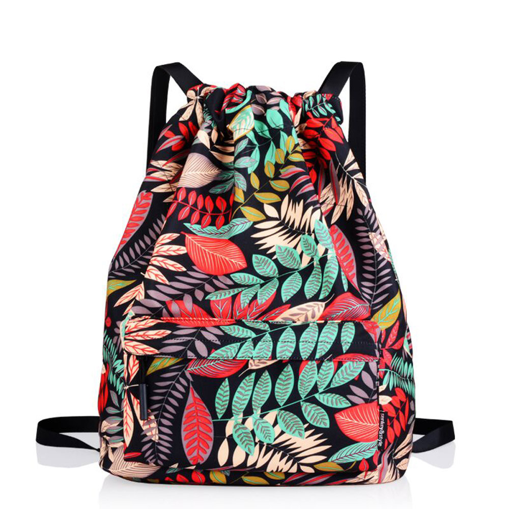Xiniu Fashion Drawstring Bag Nylon Preppy Style High Quality Teenager Satchel Printing Flower Bundle Storage Pocket preppy style drawstring and canvas design satchel for women
