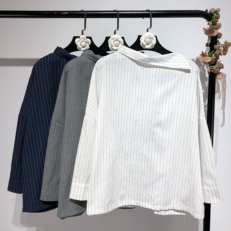 Collar Moda De Sexy Primavera Oficina Blusa Streetwear Camisa Señora Skew Marino Rayas Gris Mujer blanco Otoño azul Blusas 2019 La PBqgCxwYnn