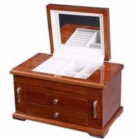 Best Wooden Jewelry Case 3 Layers Storage Box Necklace Organizer Display Gift HB82166