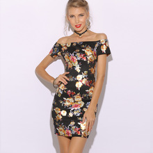 ZOGAA Flower Print Bardot Pencil Dress Black White Off the Shoulder Slim Women Summer 2019 Sexy Cap Sleeve Bodycon Dresses