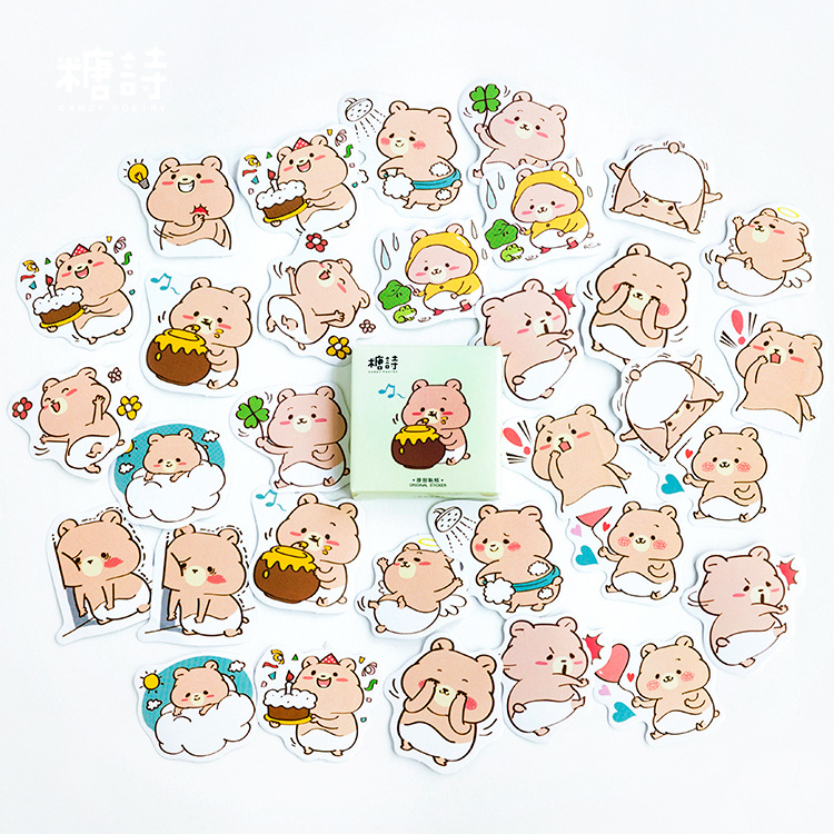 Orso Goloso Bear Decorative Stationery Stickers Scrapbooking DIY Diary Album Stick Label elephant lion bear animals transparent clear stamps silicone seals stencils for scrapbooking folder cards diy photo album sheets