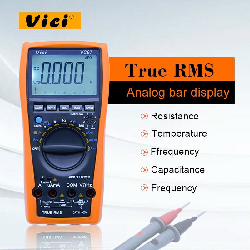 VICI VC87 Digital Multimeter TRMS 6000 digits with analog bar display Variable frequency drive voltage measurements