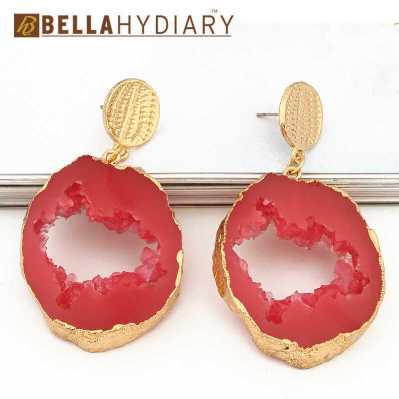Boho ไม่สม่ำเสมอเรซิ่นหิน Bohemian Jewellery Dangle ยาวหยดต่างหูวงกลม Hollow ของขวัญเครื่องประดับต่างหูหญิง
