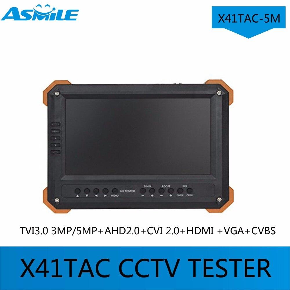2017 Newest X41TAC-5M 7TFT LCD HD-TVI3.0 AHD2.0 CVI HDMI VGA CVBS Camera Video Test Tester X41TAC 5MP 1080p HD-AHD Camera Testi