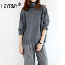 HZYRMY Autumn Winter New Women's Cashmere Sweater Fashion High Collar Loose Large size Shirt Wool Short pullovers Warm Sweater graphic embroidery ringer tee