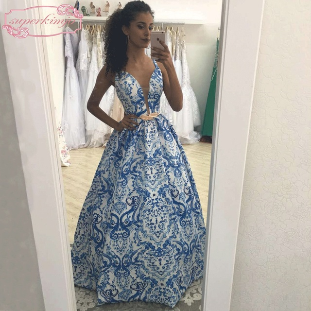 92b64d9b61 SuperKimJo Printed Prom Dresses 2018 Backless Vestido De Festa Deep V Neck  Satin A Line Sexy Prom Gown Gala Jurken
