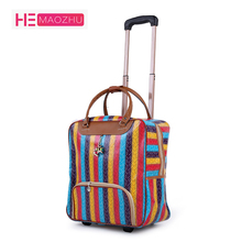 New Hot Fashion Women Trolley Luggage Rolling Suitcase Brand Casual Stripes Rolling Case Travel Bag on Wheels Luggage Suitcase multifunction skateboard rolling luggage suitcase wheels 20 inch creative lazy carry on trolley computer travel bag