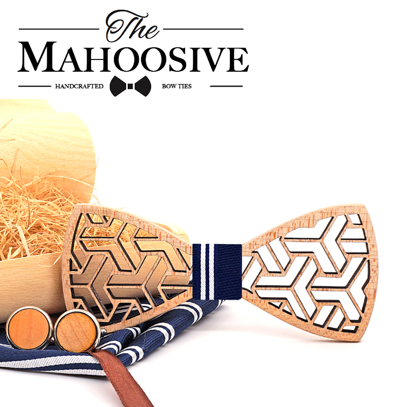 MAHOOSIVE Pocket Square Handkerchiefs Wood Bowtie Cufflinks Set For Men Business Suit Hanky Neckwear Wooden Neckwear Bow Ties