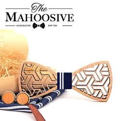 MAHOOSIVE карман квадратных носовые платки дерево бабочкой Запонки Набор для Для мужчин Бизнес костюм платок галстуки деревянные Галстуки