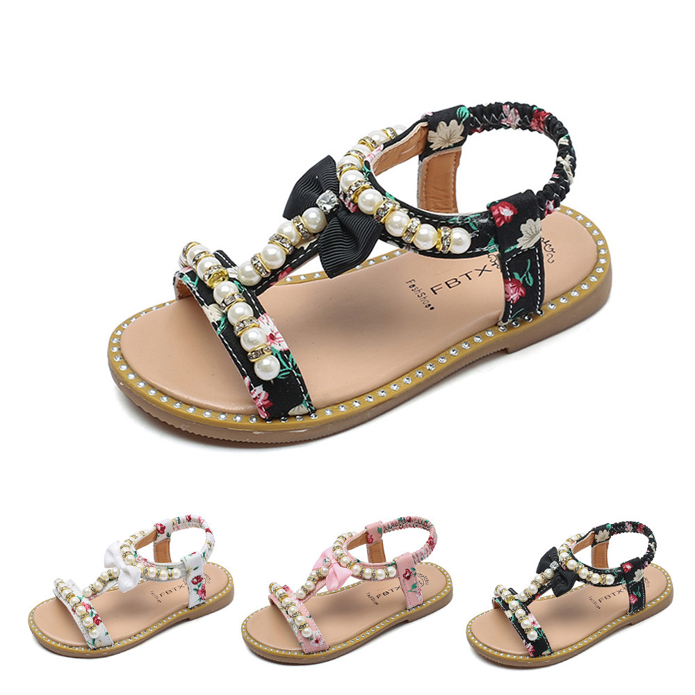 Toddler Child Kids Baby Girls Pearl Crystal Single Princess Roman Shoes Sandals