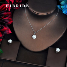 HIBRIDE European Style Luxury Freshwater Pearl Flower Jewelry Sets Women Jewelry Link Necklace Sets Girl Party Gifts N-542(China)