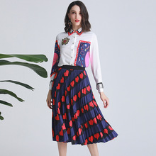 France style womens set long sleeves floral print Shirts+pleated skirts 2piece 2019 S/S runways suit A287