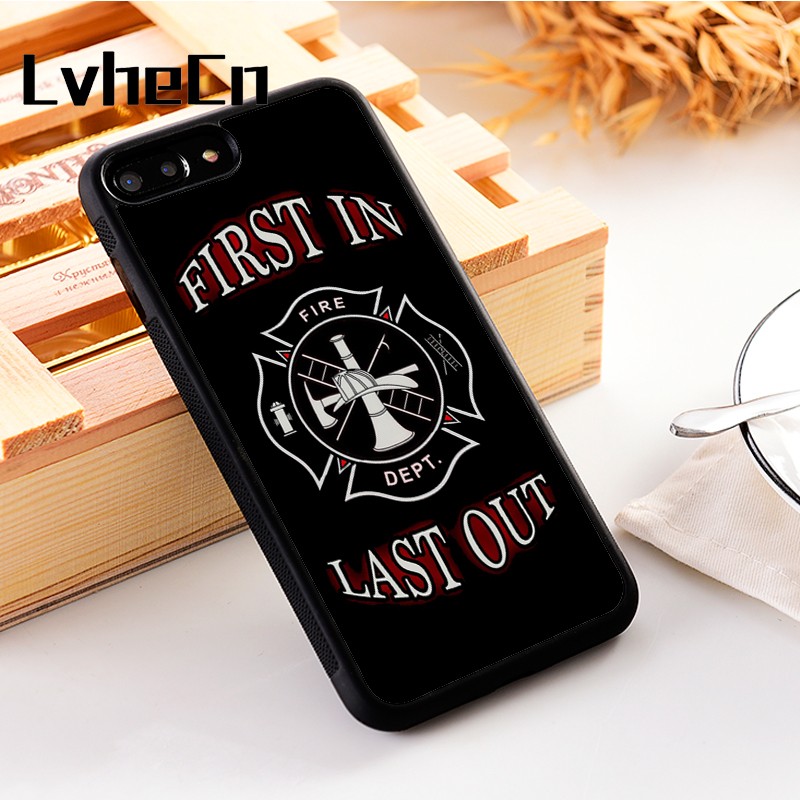 LvheCn 5 5S SE phone cover cases for iphone 6 6S 7 8 Plus X Xs Max XR Soft  Silicon TPU Fire dept Firefighter Fireman Logo-in Fitted Cases from  Cellphones ... 1f8783fe8036