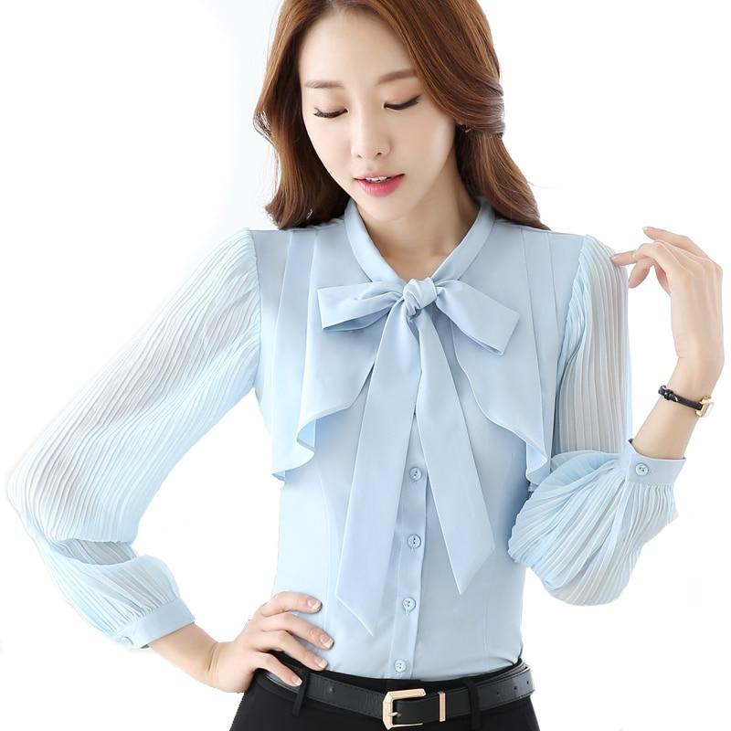 Online Shop women Autumn pleated lantern long sleeve fashion bow ...