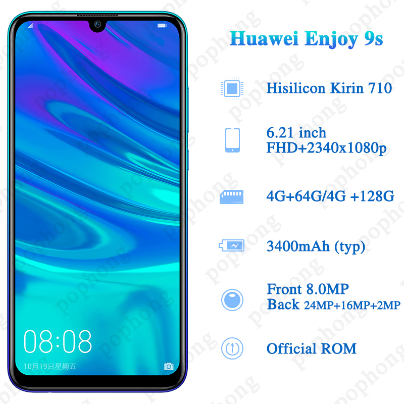 Official Huawei Enjoy 9S Mobile Phone 6.21''2340*1080P 3 Rear cameras 710 Octa core Android 9 Dual SIM Smartphone 5V/2A Phone-in Cellphones from Cellphones & Telecommunications    3