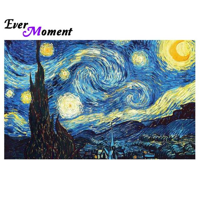 ever moment diy diamond painting van gogh starry night famous oil