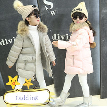 Retail 1pcs Girls Warm Winter Thickening Jacket Outerwear Kids Girls Long Sleeve Zipper Hooded Fur Collar Cotton-padded Jacket