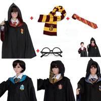 Adult Kids Robe Cloak Potters Gryffindor Slytherin Ravenclaw Magic School Cosplay House Hermione Granger Quidditch RobesUniform