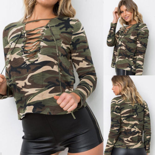 57a3677d1d3bd5 Women V Neck Camouflage Army Green Tops Loose Long Sleeve Lace Up T Shirt  Casual Summer Tees-in T-Shirts from Women's Clothing on Aliexpress.com |  Alibaba ...