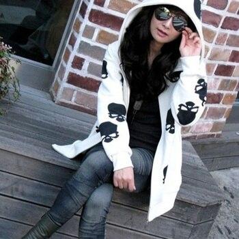 Women Skull Zipper Hooded Casual Jacket