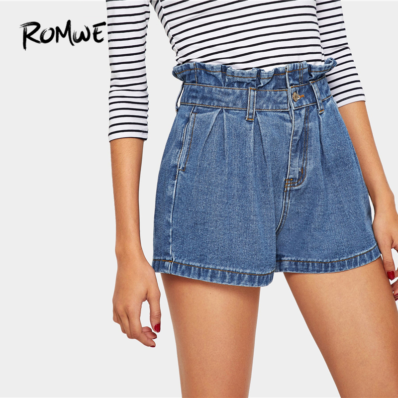 ROMWE Ruffle Waist Slant Pocket Denim   Shorts   2019 Blue Basic Young Summer Women   Shorts   Casual Summer Female High Waist   Shorts