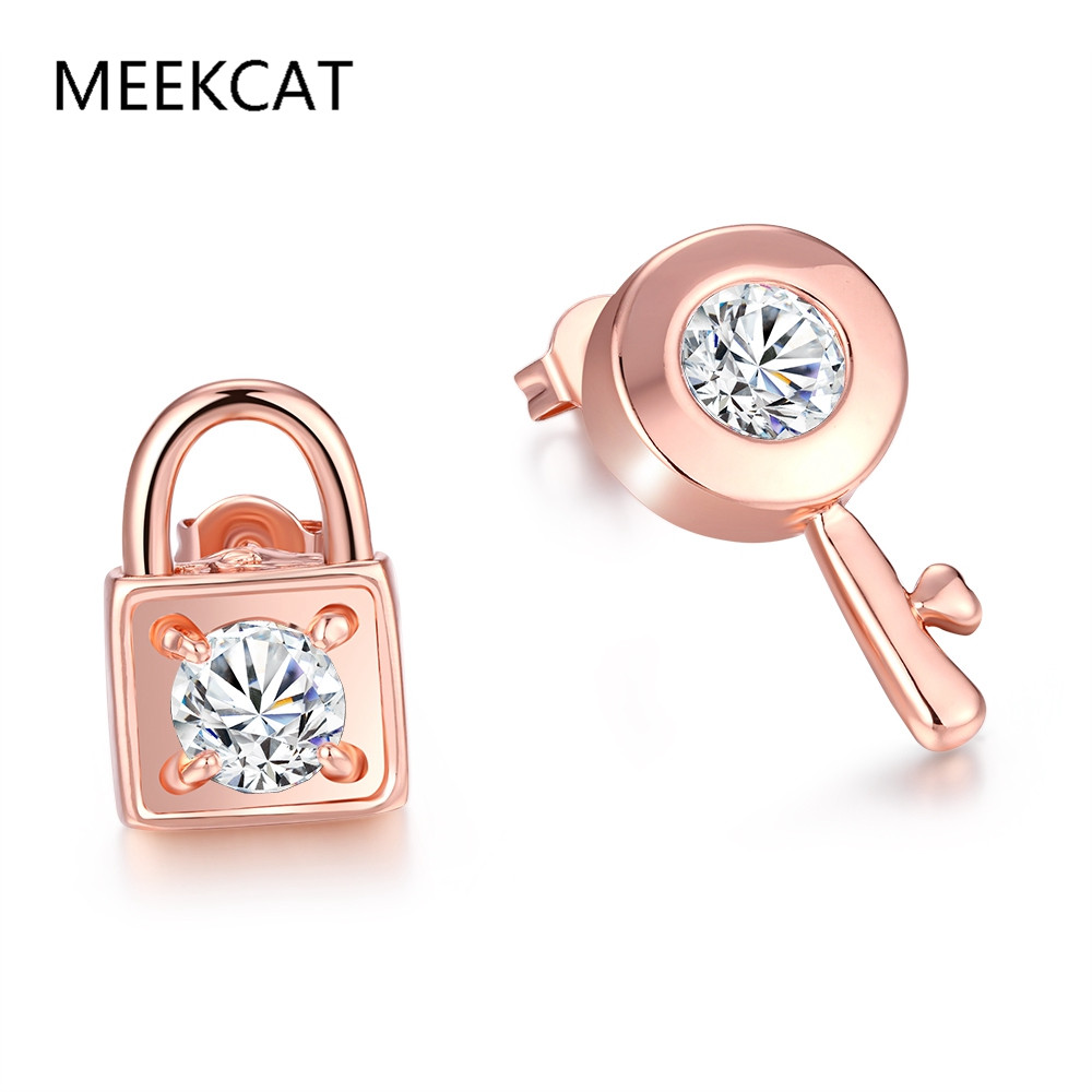 Famous Brand Special Design Earrings For Women Key & Lock Charms Rose Gold Color Stud Earrings With Cubic Zirconia Unique Gift